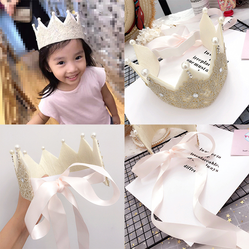 Korea High Quality Lace Crown Birthday Hair Band Bow-knot Hair Accessories lovely Headband for Girls Hair Band Hair Bow Princess