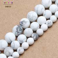Natural Stone Beads Dull Polish Matte White Turquoises Howlite Round Beads For Jewelry Making 4/6/8/10mm Beaded Bracelet