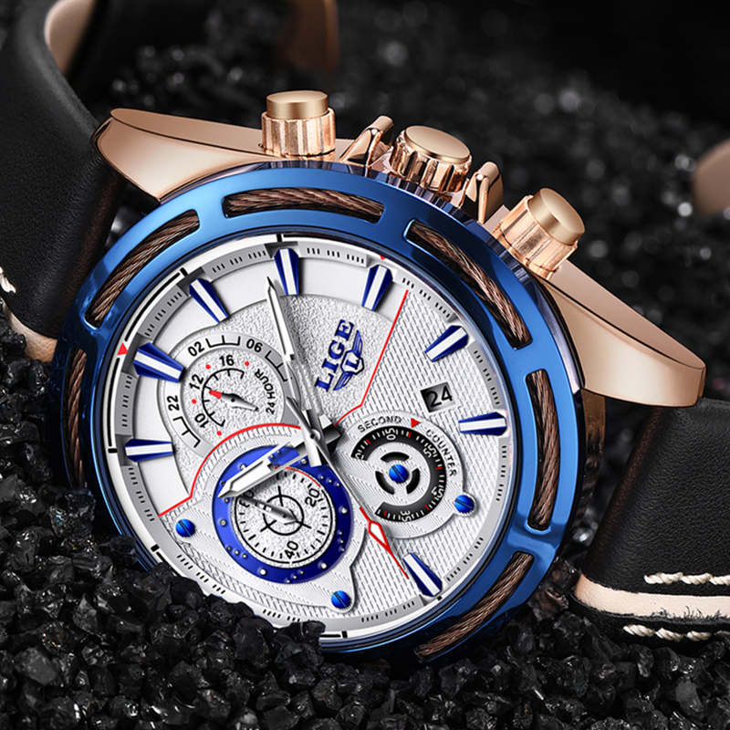 купить LIGE Watch Men's Fashion Quartz Leather Chronograph Clock Mens Watches Top Brand Luxury Waterproof Sport Watch Relogio Masculino по цене 2039.25 рублей