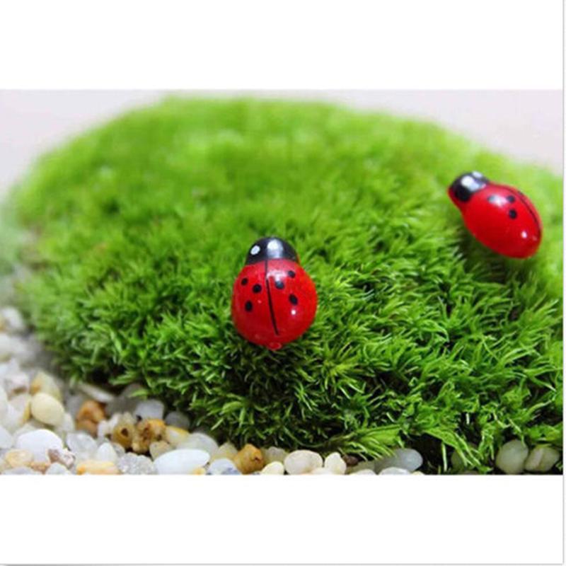 10Pcs/lot Mini Ladybug Shape Coccinella Septempunctata Resin Crafts DIY Little Garden Decor Action Toy Figures Miniature Toys