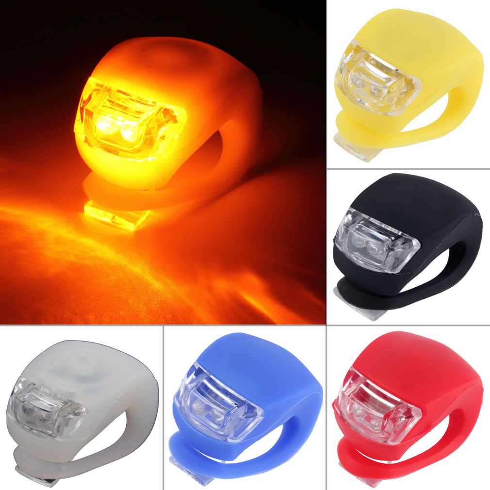 LED Bicycle Bike Cycling Silicone Head Front Rear Wheel Safety Light l9