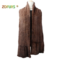 ZDFURS * Women Mink Fur Scarf Hand Knitted Fashion Mink Fur Muffler Luxury Real Mink Fur Neck Warmer Women Fur Stole