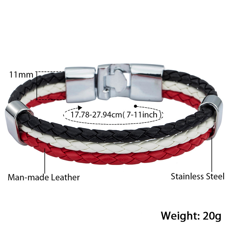 Trendsmax Mens Leather Bracelet 3 Strands National Flag Rope Chain Leather Bracelets For Men 18 Fashion Jewelry Gifts KLBW18 4