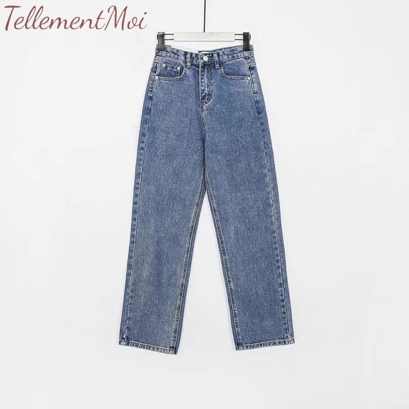Vintage Ladies Boyfriend Jeans for Women Loose High Waist Jeans Female Streetwear Straight Wide Leg Long Denim Pants