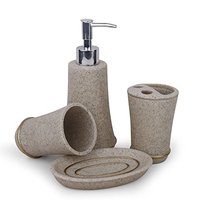 4Pcs Bathroom Accessory Set Toilet Requisites: Soap Dish, Liquid Dispenser, Toothbrush Holder, Tumbler, Beige Gray