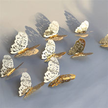 golden/sliver 12pcs/lot hollow out luxury butterfly wall sticker 3D butterfly used for bedroom wall curtain living room(China)