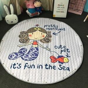 Image 4 - חדש 1.5m/59 Inch ילדים עגול שטיח תינוק לשחק מחצלת צעצועי ארגונית שרוך אחסון תיק קריקטורה בעלי החיים ילדים רצפת משחק מחצלת