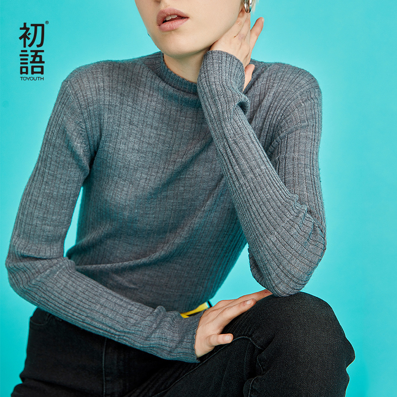 Toyouth Women Ribbed Long Sleeve Sweater Solid O-Neck Sweaters Long Sleeve Thin Sweaters Autumn Winter Tops Sueter Mujer