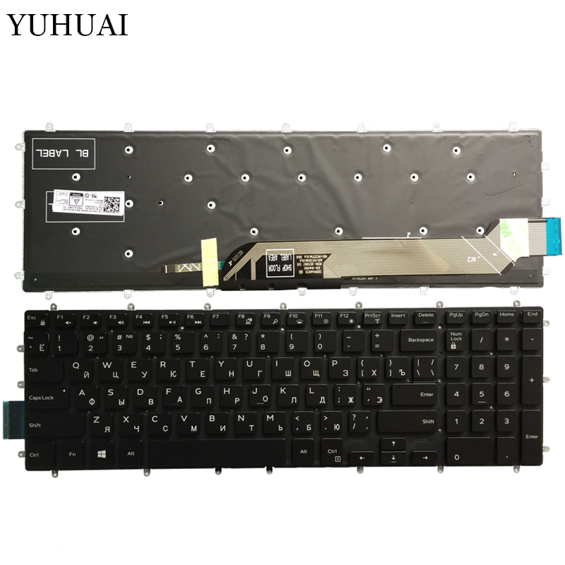 New Russian laptop keyboard for Dell Inspiron 2 in 1 5570 5575 5770 5775 Keyboard Backlit No Frame image