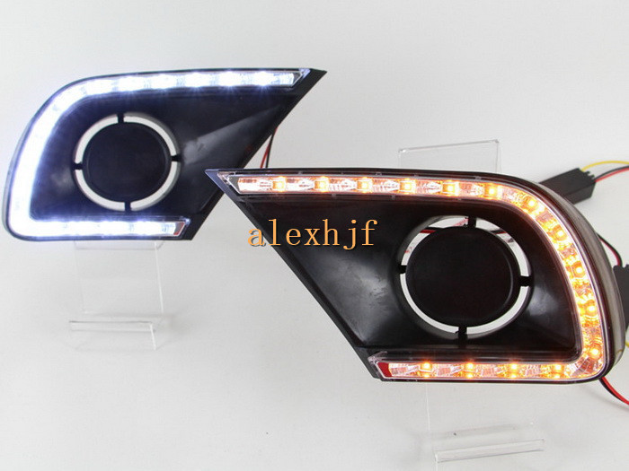 July King LED Daytime Running Lights DRL Case for Toyota Innova 2013~15, LED Fog Lamp With Yellow Turn Signal Light