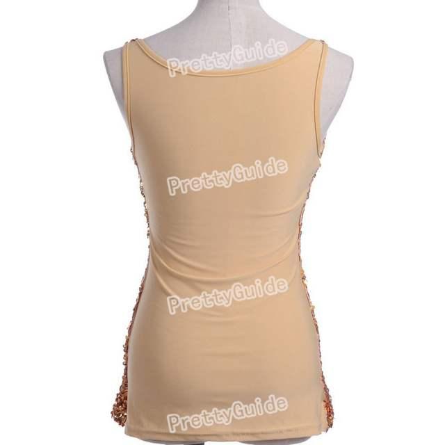 4d429a44f21b5a PrettyGuide Hot Women Bling Bling Shimmer Shine Glam Sequin Embellished  Crewneck Sparkle Tank Club Top Vest
