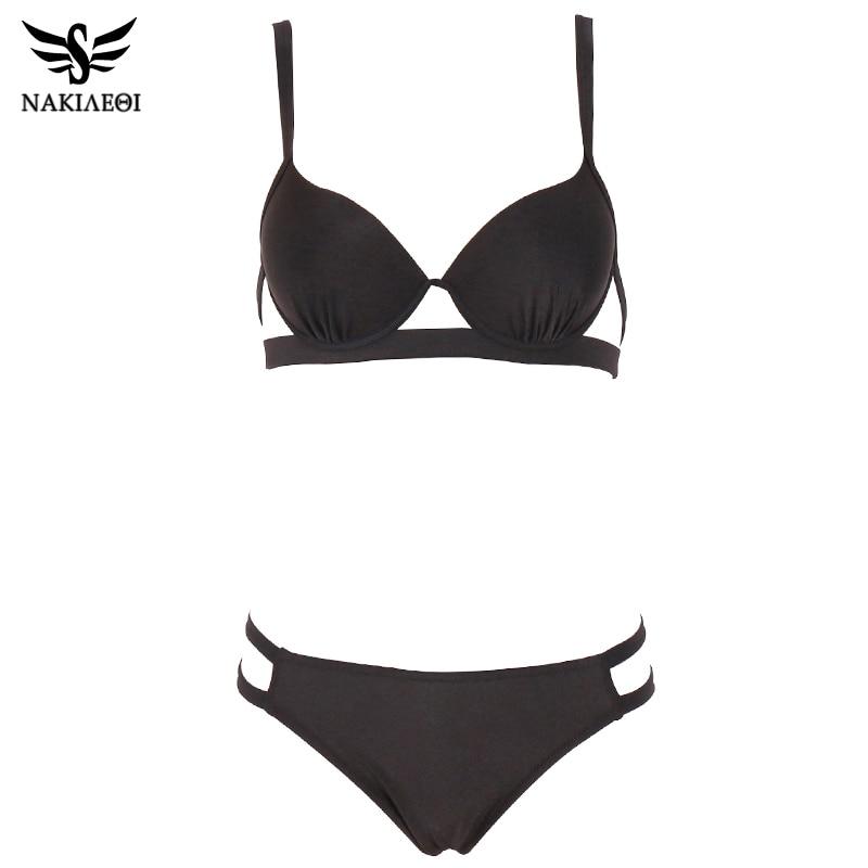 NAKIAEOI 2018 New Bikinis Women Swimsuit Swimwear Female Sexy Brazilian Bikini Set Cut Out Solid Beach Bathing Suit Swim Wear 5