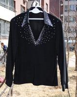 High-end-herren Modern Dance t-shirt Revers-intarsien GB tanzen kostüme können angepasst werden GBY0261