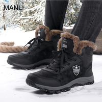 MANLI Men Boots Winter With Fur 2018 Warm Snow Boots Wear resistant Work Shoes Men Footwear Warm Hiking Shoe Rubber Ankle Shoes