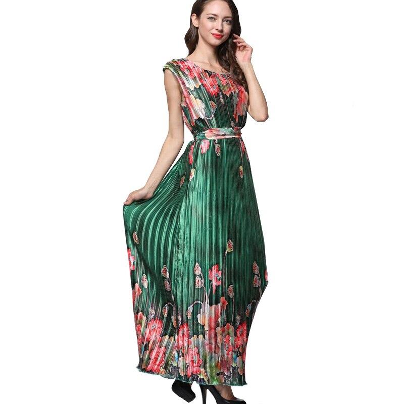 Mignon grande taille robes d'été femmes émeraude grande taille 6xl Rinkled plissée Satin robe à fleurs vert longue robe Maxi Vestido Largo