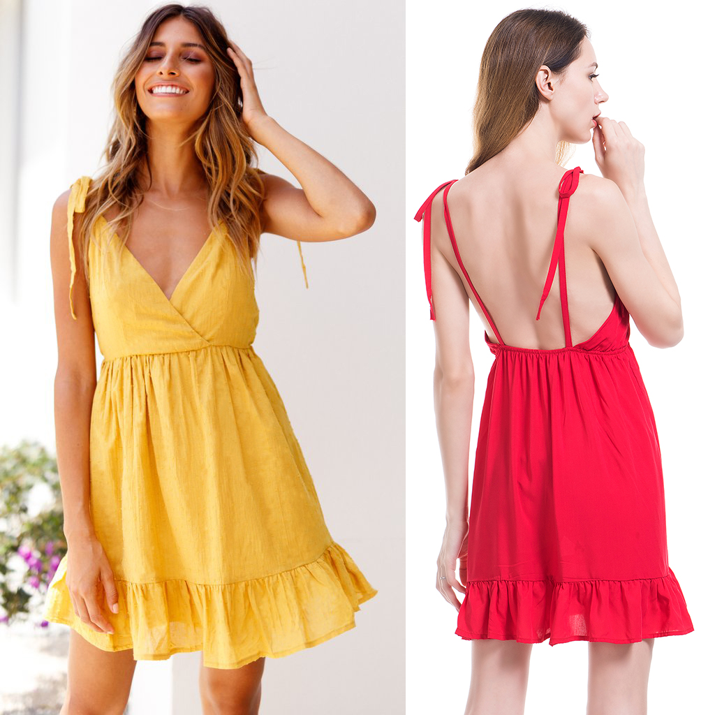 Boho Deep V Neck Backless Sexy Dress Split Cross Cotton Summer Beach Dress Sleeveless Dress in Dresses from Women 39 s Clothing