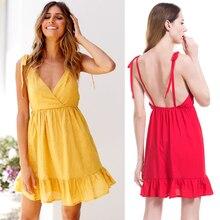 Boho Deep V Neck Backless Sexy Dress Split Cross Cotton Summer Beach Sleeveless