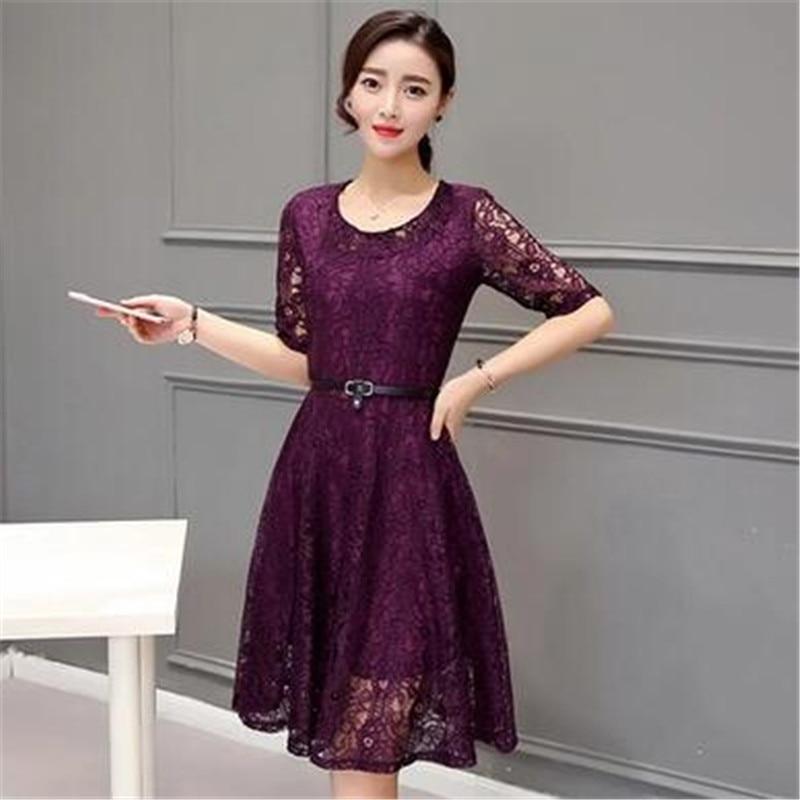 77369ac1a3a24 Mujeres elegantes Encaje Vestidos 2016 nueva moda verano Vestidos estilo  coreano casual señoras Vestidos gris rosa púrpura chemise femme en Vestidos  de La ...