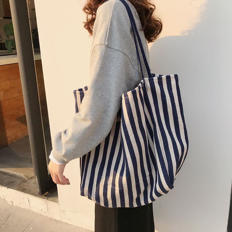 Cotton Stripe Canvas Shopping Tote Shoulder Carrying Bag Eco Reusable Bag Zippered Small Shopping Bag