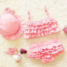 Hot Girls Solid Flounced Bikinis Set with Swim Cap Lovely Child Kids 3 Piece Swimsuit Swimwear Mesh Candy Color Spa Bathing Suit цена