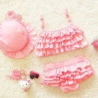 Hot Girls Solid Flounced Bikinis Set With Swim Cap Lovely Child Kids 3 Piece Swimsuit Swimwear
