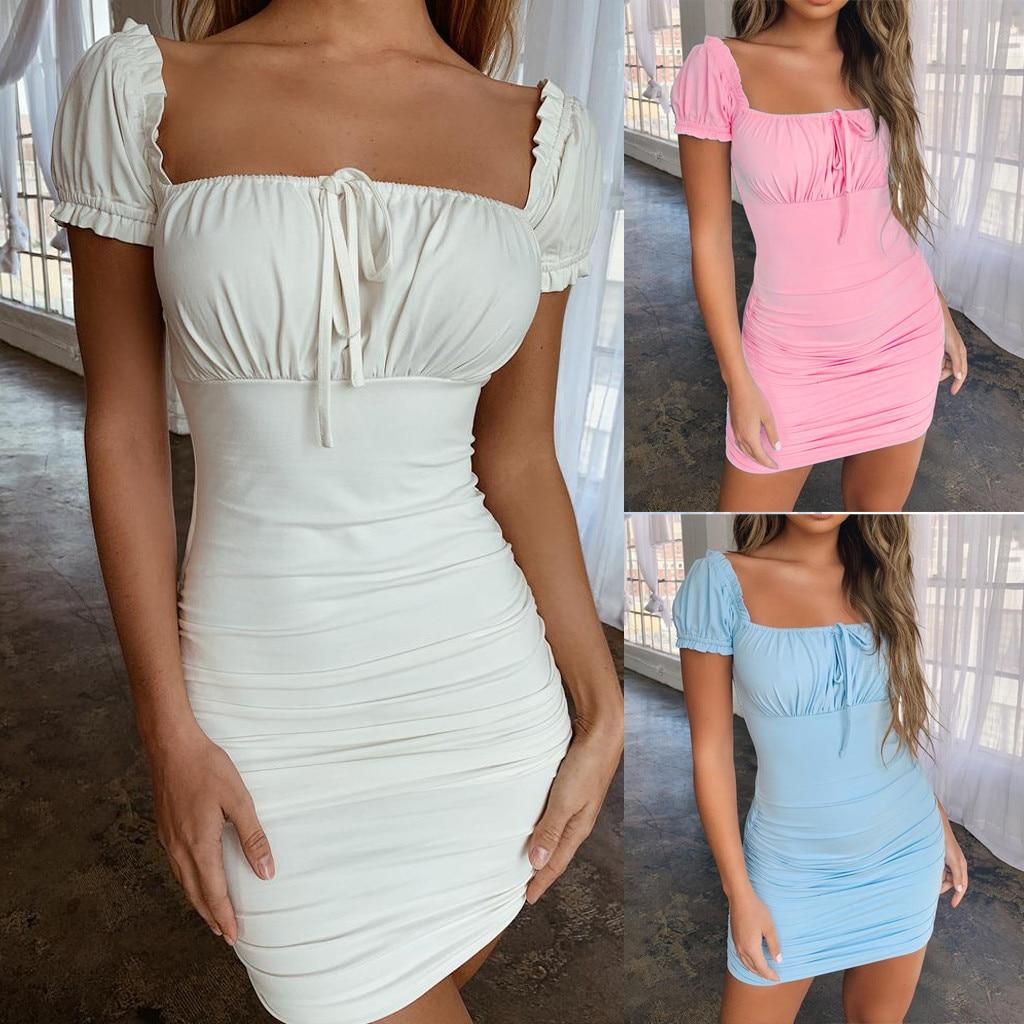 Women Summer Sexy vestidos femininos Solid Square Neck Short Sleeve Lace Up Ruched Bodycon halter Mini Dress robe femme