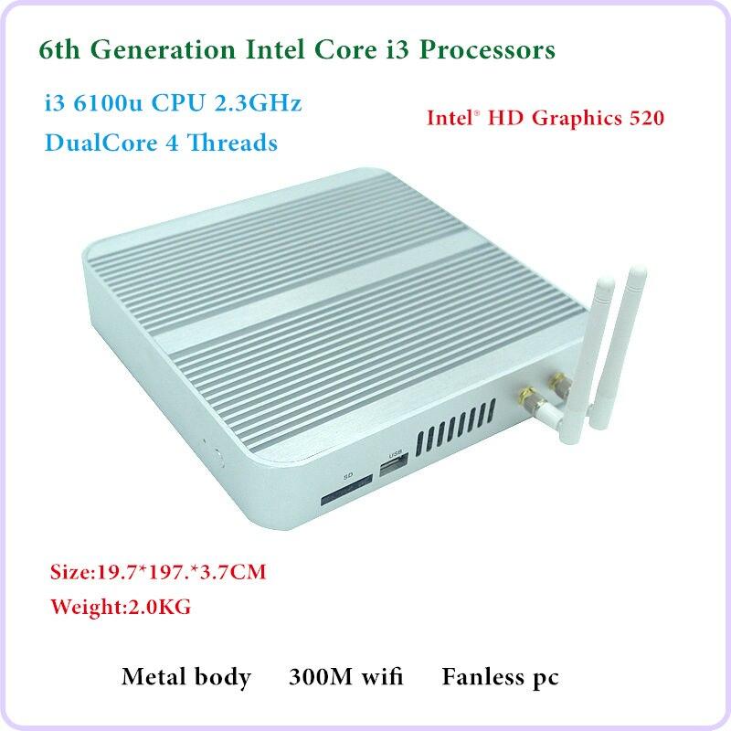 HRF 6th Generation Fanless Mini pc Core I3 6100U Windows 10 Mini PC Nettop 4K VGA