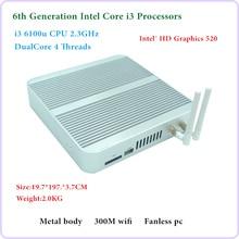 ФГП 6th поколения безвентиляторный мини-ПК core I3 6100U Windows 10 Мини ПК Nettop 4 К VGA HDMI HTPC 300 м WiFi Mini PC SSD Barebone PC