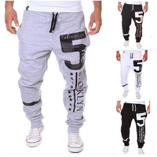 New 2017 Spring And Autumn Period  Men's Fashion Joker Sweatpants  Numbers 5  Printing  Casual  Pants  Leg  Pants