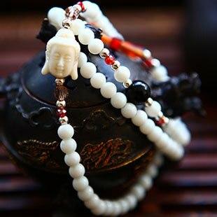Wholesale Religion Jewelery Tridacna Resin Crystal Amulets Multilayer Buddha Bracelets Men / Women (White) Lucky Gift Charm