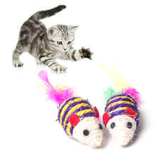 1pcs False Mouse Pet Cat Toys Mini Playing Toys with Colorful Feather Pet Cat Feather Mouse Toys