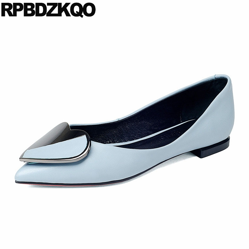 China Women Dress Shoes Heart Pointed Toe Designer Slip On Work 2018 Low Heel Pink Metal Metallic Blue Flats Ladies Large Size