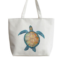 Watercolor turtle Canvas Shopping bag Cartoon Tote bags Reusable Shopper Bag ,Grocery AN085