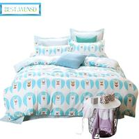 Cute cartoon cat / 100% cotton 4pcs Bedding sets bed sheet +duvet cover + pillowcases housse de couette dekbedovertre