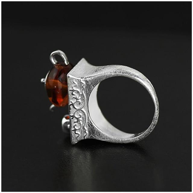 Lotus Fun Real 925 Sterling Silver Natural Amber Original Handmade Fine Jewelry Vintage Ring CuteTeapot Rings for Women Bijoux
