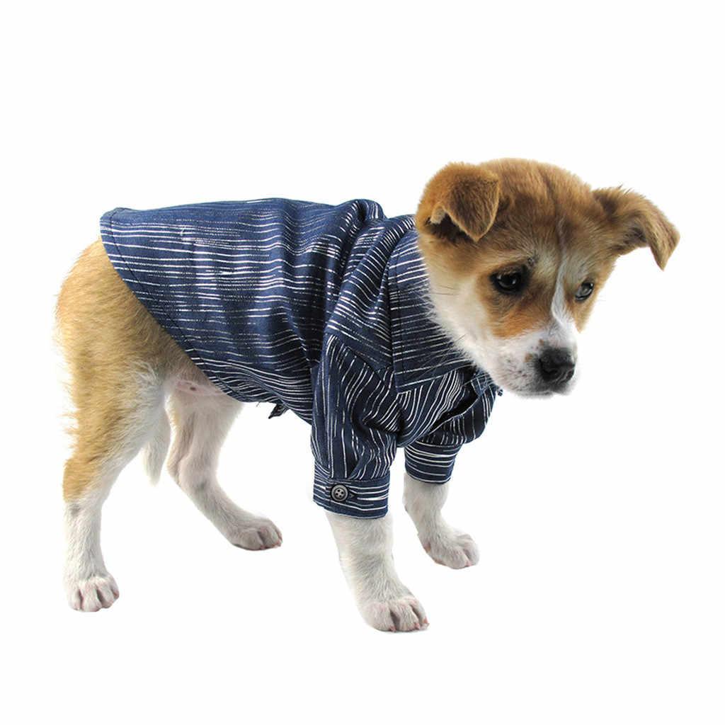 Trsnser Camisa Moda Trajes do animal de Estimação Do Cão Primavera E Verão Respirável Azul Simples Novo Cowboy Camisas Roupas Para Cães 19May1 P40