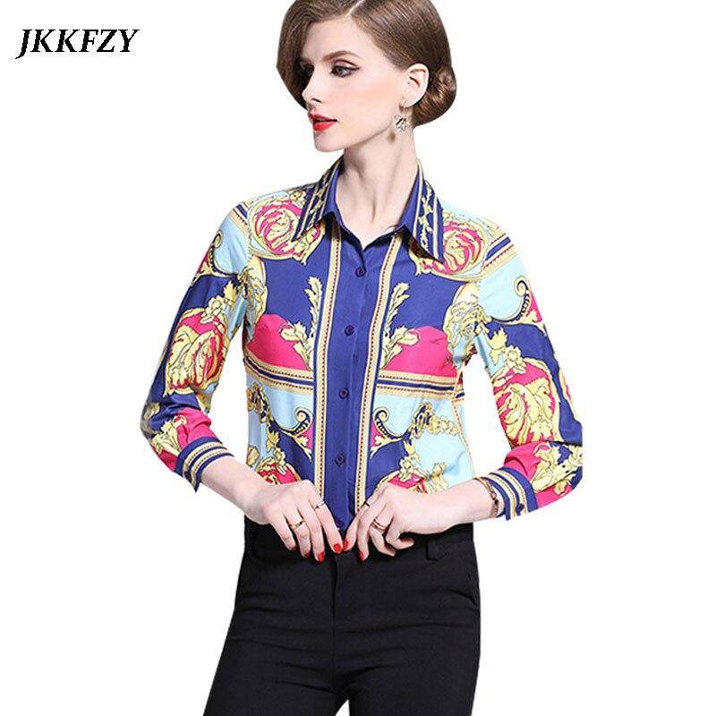 Luxury Women Blouse 2019 Spring Summer Elegant Shirt Long Sleeve Turn Down Collar Design Runway Shirt Blusas Mujer