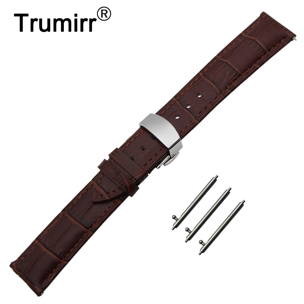 22mm Genuine Leather Watch Band Quick Release Strap for Samsung Gear S3 Classic / Frontier Butterfly Buckle Wrist Belt Bracelet cowhide genuine leather watch band 22mm for samsung gear 2 r380 r381 r382 quick release strap wrist belt bracelet