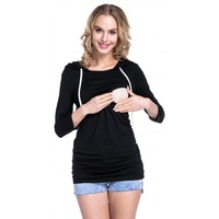 Maternity Nursing Top Hooded Breastfeeding Tops Clothes for Pregnant Women Long Sleeves Plus Size Lactation T-shirt