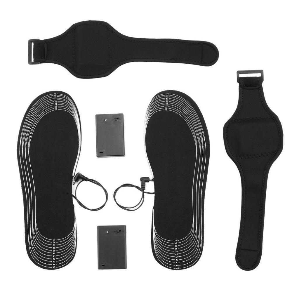 1 par climatizada plantilla pie caliente cortado de fibra de carbono de plantillas batería de invierno de los hombres zapatos de mujer de accesorios