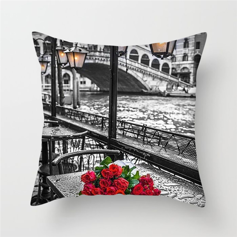 Fuwatacchi Oil Painting Style Cushion Cover Colorful Scenic Printed Pillow Cover Lake Chalet Sea Decorative Pillows For Sofa Car in Cushion Cover from Home Garden