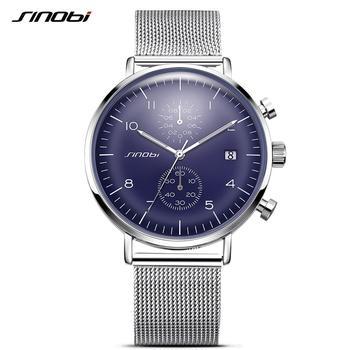 Relógio de Sinobi Moda Arredondado Relógio de Pulso de Quartzo Para Homens