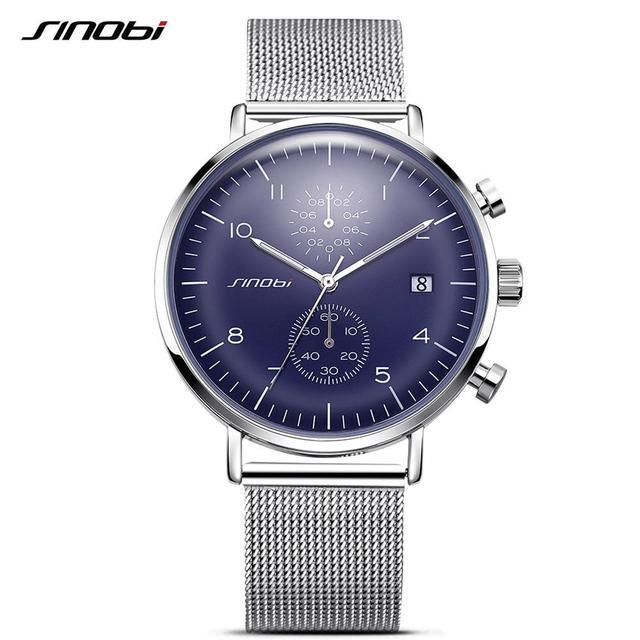 d3070433d72 Relógio de Sinobi Moda Arredondado Relógio de Pulso de Quartzo Para Homens