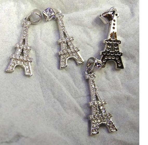 Eiffel Tower 12pcs Micro Pave Diamond Pendant 25-50mm Paris Tower Silver pave Black Diamond CZ bead anil arjanda water repellent bangle micro pave black cz