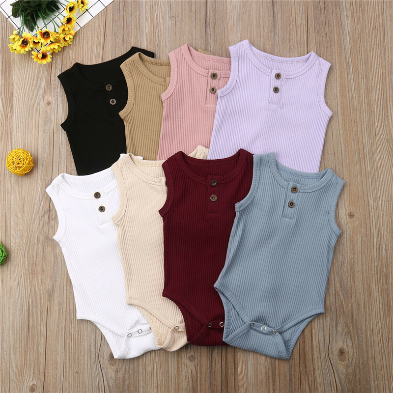 Cute Newborn Baby Boy Girl Cotton   Romper   Jumpsuit Solid Sleeveless Outfit Summer Casual Clothes Baby Girl Boy Clothing 8 Color
