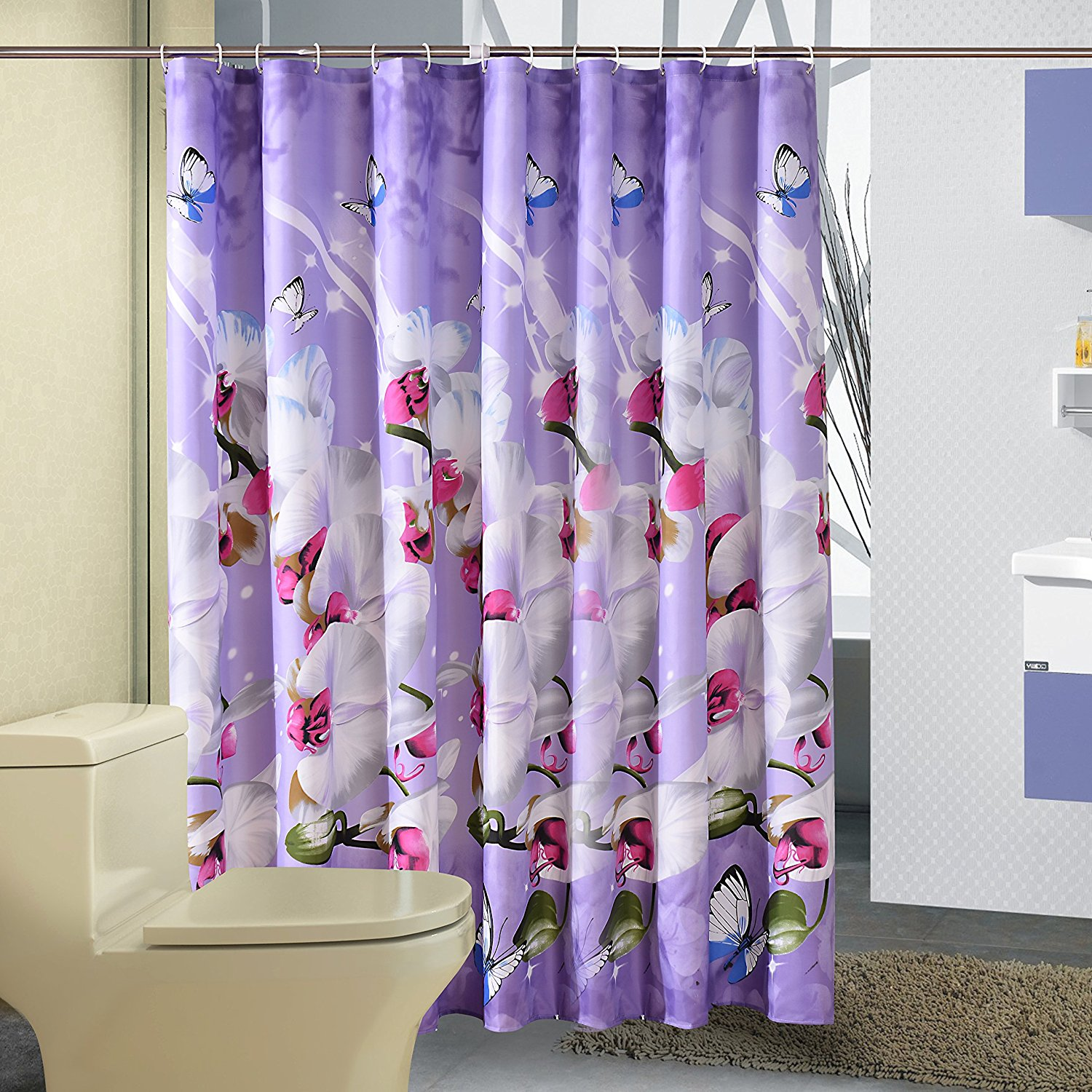 180x180 Polyester Fabric Shower Curtain Waterproof Home Bathroom Curtains Butterfly Orchid Purple Bath Crutain For The