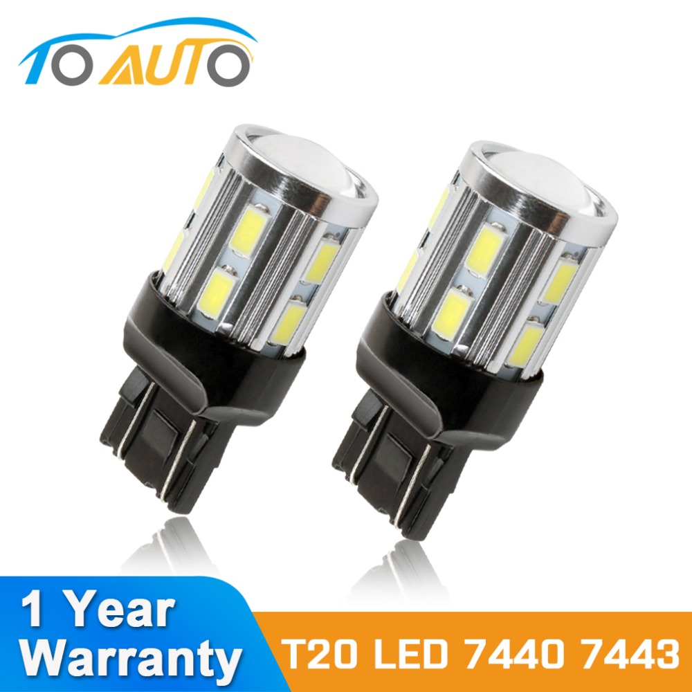 2PCS <font><b>T20</b></font> W21 5W <font><b>7443</b></font> <font><b>LED</b></font> White <font><b>LED</b></font> Chip 12SMD 5730 Auto Brake Lights Reversing Lamp Bulb Car 7440 W21W <font><b>Led</b></font> Bulbs DRL 12V image
