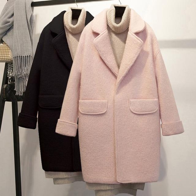 Streetwear ארוך צמר מעיל Loose יחיד חזה צמר תערובת מעיל מעיל תורו למטה צווארון נשים מעילי סתיו חורף