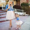 Baby Kids Clothes Set Mommy And Me Kids Girl Demin T Shirt Tops Skirt Dress Family