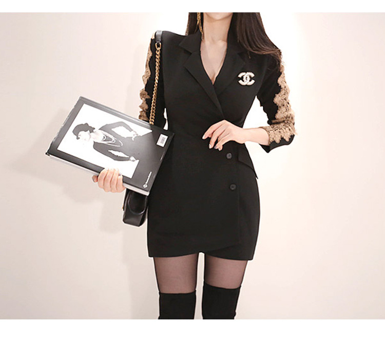 2424c57098443 Foamlina Floral Lace Patchwork Blazer Dress Notched Collar Long Sl...